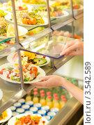 Купить «Еда в витрине кафе», фото № 3542589, снято 6 апреля 2012 г. (c) CandyBox Images / Фотобанк Лори