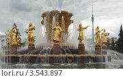 Купить «Фонтан Дружбы народов на ВВЦ, Москва», видеоролик № 3543897, снято 4 сентября 2009 г. (c) Losevsky Pavel / Фотобанк Лори