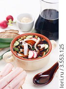 Купить «Мясная окрошка на квасе», фото № 3553125, снято 10 мая 2010 г. (c) Лисовская Наталья / Фотобанк Лори