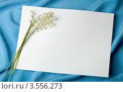 Цветы ландыша на белом листе бумаги. Стоковое фото, фотограф Ольга Денисова / Фотобанк Лори
