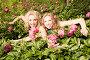 Радостные подруги среди цветущих пионов, фото № 3557205, снято 1 июня 2008 г. (c) Эдуард Стельмах / Фотобанк Лори