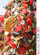 Купить «Дерево любви на Лужковом мосту», эксклюзивное фото № 3558397, снято 6 мая 2012 г. (c) Алёшина Оксана / Фотобанк Лори