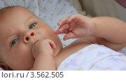 Купить «Младенец тянет ручки в рот», видеоролик № 3562505, снято 6 ноября 2009 г. (c) Losevsky Pavel / Фотобанк Лори
