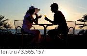 Купить «Силуэт мужчины и женщины в шляпе, пьющих вино на закате у моря», видеоролик № 3565157, снято 28 февраля 2010 г. (c) Losevsky Pavel / Фотобанк Лори