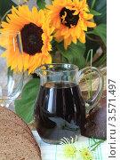 Купить «Кувшин с квасом и бокал», фото № 3571497, снято 3 июня 2012 г. (c) Надежда Глазова / Фотобанк Лори