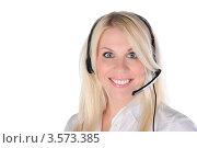 Купить «Девушка с гарнитурой широко улыбается», фото № 3573385, снято 21 мая 2011 г. (c) Elena Monakhova / Фотобанк Лори