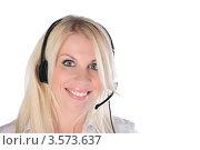 Купить «Улыбающаяся девушка с гарнитурой», фото № 3573637, снято 21 мая 2011 г. (c) Elena Monakhova / Фотобанк Лори