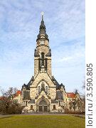 Старая каменная церковь в Лейпциге (2012 год). Стоковое фото, фотограф Irina Kolokolnikova / Фотобанк Лори