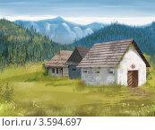 Сельский пейзаж.Горы. Стоковая иллюстрация, иллюстратор Калятина Наталья / Фотобанк Лори