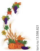 Купить «Виноград, тыквы и колосья», иллюстрация № 3598821 (c) Татьяна Петрова / Фотобанк Лори