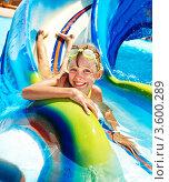 Счастливая девочка в аквапарке. Стоковое фото, фотограф Gennadiy Poznyakov / Фотобанк Лори