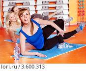 Купить «Счастливые женщины в классе аэробики», фото № 3600313, снято 7 апреля 2012 г. (c) Gennadiy Poznyakov / Фотобанк Лори