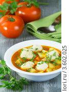 Томатный суп с клёцками. Стоковое фото, фотограф Александр Курлович / Фотобанк Лори