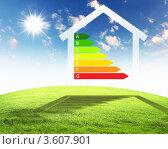 Купить «Шкала энергоэффективности и контур дома на фоне природы», иллюстрация № 3607901 (c) Sergey Nivens / Фотобанк Лори