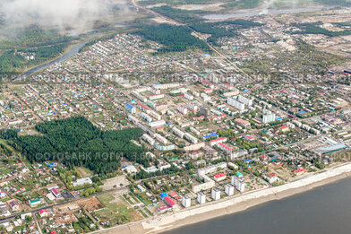 Город Ленск. Вид с высоты птичьего полёта