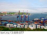 Купить «Контейнерный терминал в торговом порту Владивостока», эксклюзивное фото № 3609077, снято 17 июня 2012 г. (c) Сергеев Игорь / Фотобанк Лори
