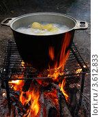Картошка варится на костре. Стоковое фото, фотограф Алексей Шипов / Фотобанк Лори