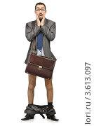 Купить «Бизнесмен со спущенными штанами стоит на белом фоне», фото № 3613097, снято 20 апреля 2012 г. (c) Elnur / Фотобанк Лори