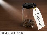 "Купить «Монетки в банке с ярлыком ""Школа""», фото № 3617453, снято 24 августа 2011 г. (c) Monkey Business Images / Фотобанк Лори"