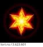 Купить «Шестилучевая звезда из жёлтого огня на чёрном фоне», иллюстрация № 3623601 (c) Dvarg / Фотобанк Лори