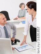 Купить «Деловые люди разговаривают в офисе», фото № 3630857, снято 12 декабря 2011 г. (c) CandyBox Images / Фотобанк Лори