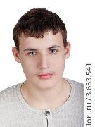 Купить «Портрет подростка в трикотажной светло-серой рубашке», фото № 3633541, снято 17 февраля 2011 г. (c) Losevsky Pavel / Фотобанк Лори
