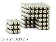 Купить «Куб, из маленьких металлических шариков и один сегмент отдельно», фото № 3633737, снято 16 апреля 2011 г. (c) Losevsky Pavel / Фотобанк Лори