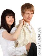 Купить «Девушка помогает мужчине одеть праздничный костюм», фото № 3634389, снято 15 марта 2011 г. (c) Losevsky Pavel / Фотобанк Лори