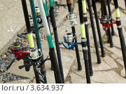 Купить «Удочки с современными катушками», фото № 3634937, снято 14 мая 2011 г. (c) Losevsky Pavel / Фотобанк Лори