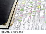 Купить «Финансовые таблицы, блокнот и ручка», фото № 3636365, снято 18 февраля 2020 г. (c) Сергей Дашкевич / Фотобанк Лори