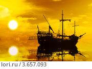 Купить «Силуэт парусника на закате», фото № 3657093, снято 3 июля 2012 г. (c) Beerkoff / Фотобанк Лори