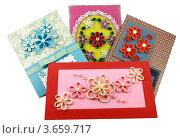 Самодельные открытки с бумажными цветами. Стоковое фото, фотограф Ольга Деева / Фотобанк Лори