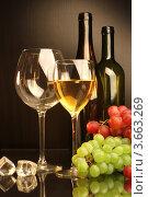 Купить «Композиция с бокалом белого вина, виноградом и кусочками льда», фото № 3663269, снято 13 мая 2012 г. (c) Виктор Топорков / Фотобанк Лори