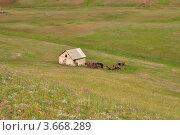Домик на склоне Козьих гор в Оренбургской области. Стоковое фото, фотограф Алексей Сахаров / Фотобанк Лори