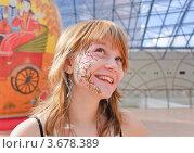 "Девушка с аквагримом на лице в ТРЦ ""Афимолл Сити"" (2012 год). Редакционное фото, фотограф Алёшина Оксана / Фотобанк Лори"