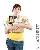 Купить «Счастливая женщина с бытовой техникой», фото № 3685877, снято 17 марта 2011 г. (c) Яков Филимонов / Фотобанк Лори