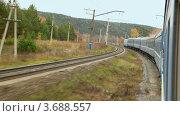 Пейзаж из окна поезда. Стоковое видео, видеограф Losevsky Pavel / Фотобанк Лори