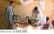 Купить «Невеста, жених и девочки с воздушными шариками», видеоролик № 3688985, снято 19 марта 2010 г. (c) Losevsky Pavel / Фотобанк Лори