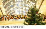 Купить «Гирлянды и шары на украшенной к Новому году ели в торговом центре», видеоролик № 3689845, снято 28 марта 2010 г. (c) Losevsky Pavel / Фотобанк Лори