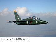 Купить «Як-130, учебно-тренировочный самолёт на фоне облаков и земли», фото № 3690925, снято 16 сентября 2004 г. (c) Михеев Алексей / Фотобанк Лори