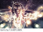 Купить «Светящийся силуэт девушки на ярком фоне», иллюстрация № 3691065 (c) Анна Павлова / Фотобанк Лори