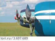 Купить «Винт самолета Як-52», эксклюзивное фото № 3697689, снято 21 июля 2012 г. (c) Сергей Соболев / Фотобанк Лори