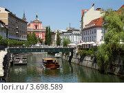 Купить «Мост над рекой Любляницей, Словения», фото № 3698589, снято 11 июля 2012 г. (c) Юлия Кузнецова / Фотобанк Лори