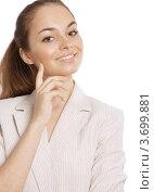 Портрет молодой деловой успешной женщины на белом фоне. Стоковое фото, фотограф Юлия Шевченко / Фотобанк Лори