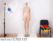 Манекен в студии на фоне белой стены. Стоковое фото, фотограф Константин Примачук / Фотобанк Лори