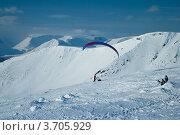 Купить «Сноукайтинг зимой в Хибинах», фото № 3705929, снято 31 марта 2012 г. (c) Morgenstjerne / Фотобанк Лори