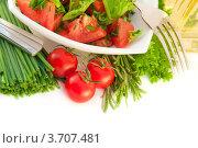 Помидоры, лук и салат на белом фоне. Стоковое фото, фотограф Лариса Кривошапка / Фотобанк Лори