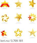 Коллекция иконок золотой звезды. Стоковая иллюстрация, иллюстратор Marina Zlochin / Фотобанк Лори