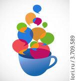 Чашка кофе с речевыми облачками. Стоковая иллюстрация, иллюстратор Marina Zlochin / Фотобанк Лори