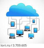 Компьютеры и планшеты, подключенные к интернет-облаку. Стоковая иллюстрация, иллюстратор Marina Zlochin / Фотобанк Лори